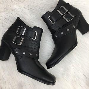 Harley Davidson leather studded heel ankle boots